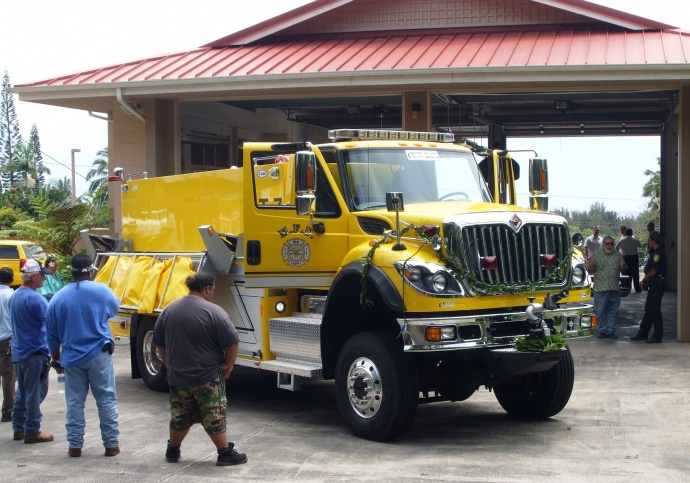"""A blessing for the new Tanker 7 was conducted by Juanita Aluanu """"Auntie Carol"""" Kapu-Kawaiaea."""
