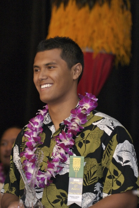 Po`okela Woods, was winner of the 2010 Richard Hoopii Falsetto competition. Photo coutesy: Lisa Villiarimo from Festivals of Aloha photo library.
