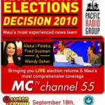 LIVE election coverage begins at 5:30 p.m. on Saturday, Sept. 18 on MC-TV Channel 55 and on AM 900 KNUI.