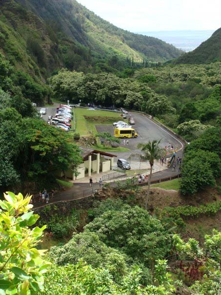 The bathrooms and parking lot at Iao Valley State Park. File photo by Wendy Osher.