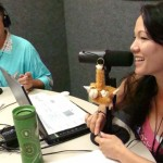 Tom Blackburn-Rodriguez (left) and Kellie Pali (right) in studio on The Maui Breakfast Club radio show.