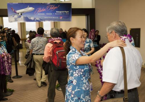 Passengers On Hawaiian Airlines Inaugural Flight From Honolulu To Tokyos Haneda Airport Were Presented With A Fresh Flower Lei Upon Boarding