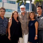 Tony Takitani, Maui Regional Board; Lani Correa, MMMCF Executive Director; Mick Fleetwood; Saedene Ota, MMMCF Board President and Wesley Lo, MMMC CEO (Left to Rt). Courtesy Photo.