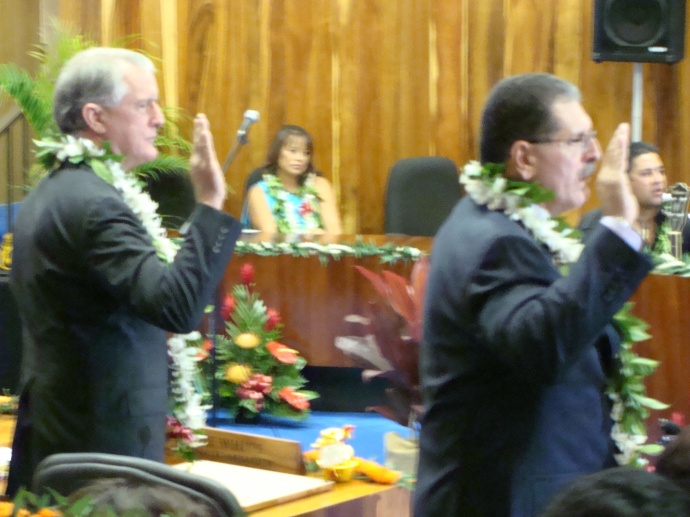 The two Mike's: White and Victorino taking the oath of office. File photo 2010 by Wendy Osher.