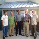 DKK Properties in Kihei is the state's first renewable generation facility under the new Feed-in Tariff program.  Partnering to bring this project to fruition were:  (L to R) Walter Enomoto (ProVision Solar, Inc.), Ray Phillips (DKK Properties), Ed Reinhardt (President, Maui Electric Company), Doug McLeod (DKK Properties), Dmitri Jarocki (Renewable Energy Services Project Engineer, Maui Electric Company).