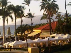 Continued emphasis on increasing airlift, especially direct airlift to the neighbor islands, is expected to contipute to visitor spending and job creation. Four Seasons Wailea Resort, photo by W.Osher.