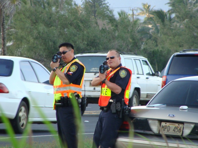 Speed Enforcement Team officers along Kahului Beach Road on Wednesday, Jan. 19, 2011. Photo by Wendy Osher.