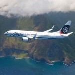 Alaska Airlines Boeing 737-800 over Molokai cliffs. Courtesy photo.