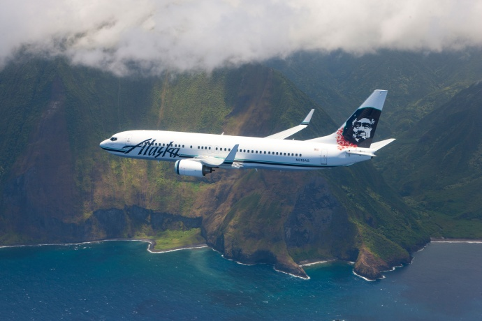 b3b7417d20 Alaska Airlines Boeing 737-800 over Molokai cliffs. Photo courtesy of Alaska  Airlines.