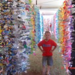 Michael King enjoyed the pathway through Eco-Alley to a huge tent housing the remarkable Curtain of 36,000 Origami Whales. Photo by Sonia Isotov.