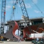 "Pasha Hawaii ""Jean Anne"" Stern lift at VT Halter Marine November 26, 2003. (Photo: Business Wire)"