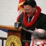 Maui Mayor Alan Arakawa delivering his 2011 State of the County Address 2/25/11.  Photo by Wendy Osher.
