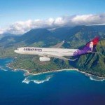 Hawaiian Airlines newest aircraft, the 294-seat Airbus A330-200, is seen flying above beautiful Hawaii. Hawaiian is launching daily, nonstop flights between Honolulu and Osaka, Japan, this July. Osaka will be the third Asia destination that Hawaiian has launched service to in recent months, following Seoul in January and Tokyo last November. (PRNewsFoto/Hawaiian Airlines, Chad Slattery)