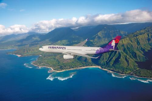 Hawaiian Airlines newest aircraft, the 294-seat Airbus A330-200, is seen flying above beautiful Hawaii. Hawaiian is launching daily, nonstop flights between Honolulu and Osaka, Japan, this July. Osaka will be the third Asia destination that Hawaiian has launched service to in recent months, following Seoul in January and Tokyo last November.