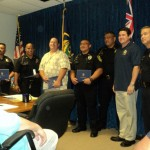 Molokai Police Officers were honored today for their heroism in responding to help a resident unable to stop his vehicle from speeding out of control. Photo by Wendy Osher.