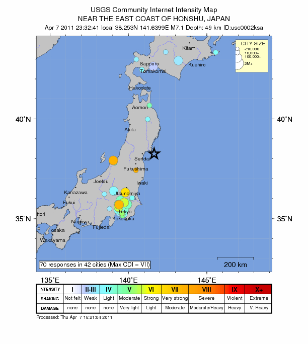 japan earthquake april 7 2011. A large earthquake in Japan
