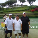 Makena's tennis courts in better condition than Hali`imaile's. (Pictured: Councilman Bill Medeiros, Mayor Alan Arakawa, and Dr. Dick Lindstrom pose after a set of tennis for Kokua Japan relief back in 2011). File photo by Sonia Isotov.
