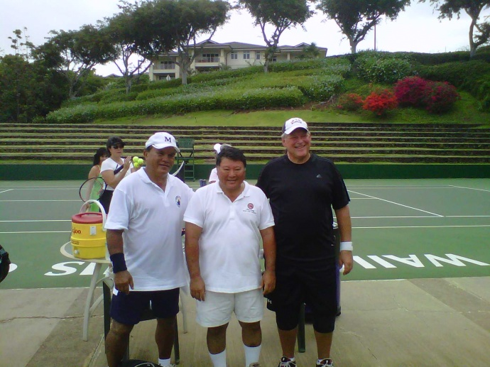 Makena tennis courts in better condition than Hali`imaile's. (Pictured: Councilman Bill Medeiros, Mayor Alan Arakawa, and Dr. Dick Lindstrom pose after a set of tennis for Kokua Japan relief back in 2011. File photo by Sonia Isotov.