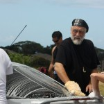 Mick Fleetwood, legendary drummer and co-founding member of the iconic band, Fleetwood Mac, gets soapy for Japan with Maui Fire Department Chief Jeffrey Murray (behind Fleetwood), The Throwdowns' Ian Hollingsworth (right), and Screenwriter Brian Kohne (back facing camera).