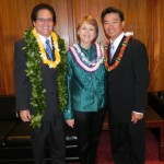 Maui Senators J. Kalani English, Roz Baker and Senate President Shan Tsutsui photographed on the final day of the  2011 Legislature. File Courtesy, Senate Communications.