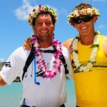 Dave Kalama and Jamie Mitchell celebrate wins after 2010 race. Credit: Bernie Baker