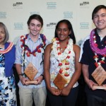 From L-R is Gwen Miyasato (HMSA Executive Vice President), Zachary Pezzilllo (Seabury Hall), Miracle Helekahi (Hana High & Elementary School), and Chris Nunokawa (Kamehameha Schools Maui). Photo courtesy: HMSA.