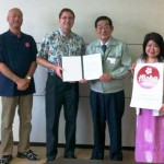 The Aloha Initiative's Keith Regan is pictured here with government officials in Japan during a visit to the region in April.