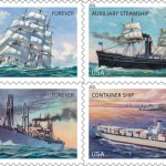 The U.S. Postal Service honors the U.S. Merchant Marine with this four-pane stamp design. A Matson Navigation container ship can be seen the bottom right-hand corner of the pane. Photo courtesy of Matson.