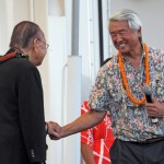 U.S. Senator Daniel Inouye is greeted by UHMC Chancellor Clyde Sakamoto.  Courtesy photo.