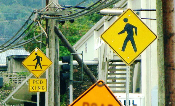 Pedestrian signage in Wailuku, Maui. Photo by Wendy Osher.