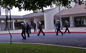 US Servicemen leaving the Vickers Memorial service.
