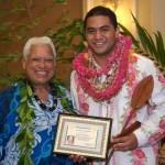 Uncle Richard Ho'opi'i and 2011 Contest winner Ezra Kaui Krueger. Courtesy Photo.