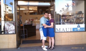 Dan Sanchez (left) and Valerie Kane (right) stand outside their new gelato store, Maui Gelato, at Dolphin Plaza, in Kihei, Photo courtesy of Kane.