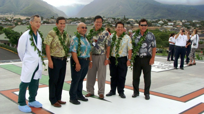(L to R) Dr. Colin Lee, Lt. Gov. Brian Schatz, Rep. Gil Keith-Agaran, Maui Memorial Medical Center CEO Wes Lo, Rep. Kyle Yamashita, and MMMC Regional Board Member Anthony P. Takitani. Photo by Wendy Osher.
