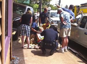 moana crash truck paia plaza woman injured wings hawaii