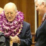 Judge Shackley F. Raffetto (left) joins Chief Justice Mark E. Recktenwald (right) in congratulating members of the Maui Judiciary for their years of service. Photo by Wendy Osher.