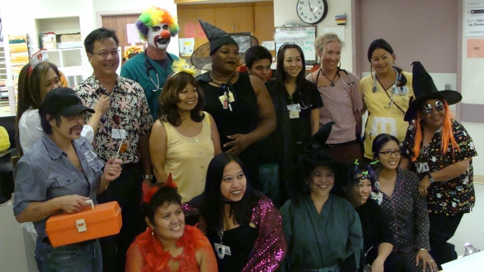 employees at the maui memorial medical center got into the halloween spirit with witches on staff and wands in hand photo by wendy osher