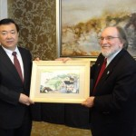 Governor Neil Abercrombie meets with Governor Wang Sanyun of Anhui Province. Photo courtesy Office of the Governor, State of Hawai'i.
