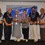 Awardees (from left to right): Edwin Ginoza-Inspiration Award, Donald Takaki-Spirit of Maui Award, Barbara Long and Jan Dapitan-Saber Spirit Award, Vance Vickers accepting for fallen hero Kraig Vickers-Silversword Heritage Award and Eugene Takemoto accepting for the late Patsy Takemoto Mink-Award of Excellence. Courtesy Photo.