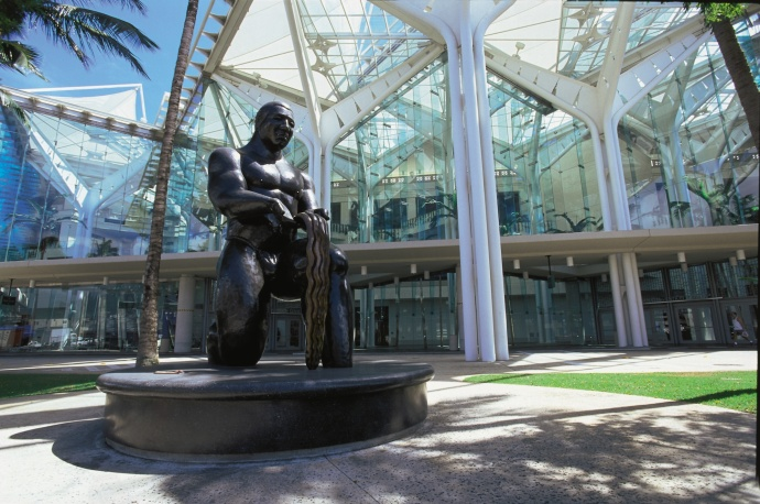 A statue inside the Hawaii Visitors and Convention Bureau. File photo courtesy of Hawaii Tourism Authority / Chuck Painter