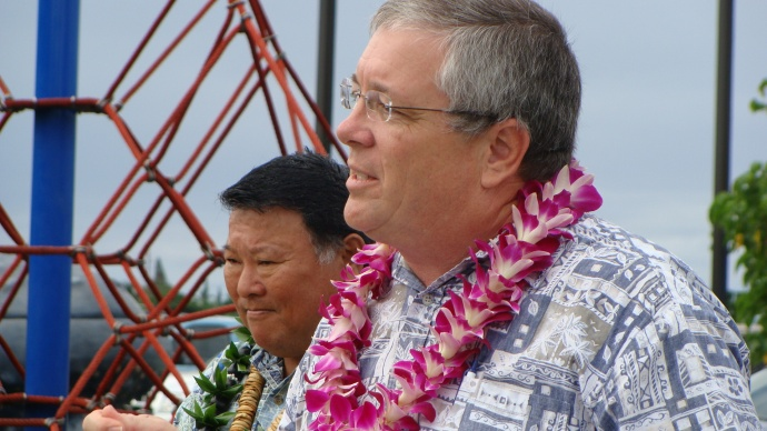 Council Member Don Couch (foreground) and Mayor Alan Arakawa (background) were among the dignitaries on hand at the opening earlier this year of the South Maui Park. Photo by Wendy Osher.