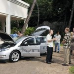 Attendees of the Maui EVA kickoff meeting inspect a Chevy Volt.  Photo credit by Jose Morales, courtesy of Maui No Ka Oi Magazine.