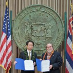 Governor Abercrombie signs memorandum of understanding for Japan-U.S. Smart Grid Demonstration Project . Photo courtesy State of Hawaii.