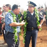 Maui Mayor Alan Arakawa chats with MPD Chief Gary Yabuta prior to today's groundbreaking ceremonies for the new Kihei Police Station. Photo by Susan Halas.