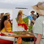 Participating plein air artist Mary Pettis paints on location at Kamehameha Iki Park. Courtesy photo.