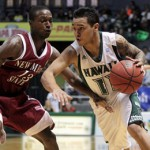 Senior captain Jeremiah Ostrowski returned to action Saturday to help Hawaii upset New Mexico State. UH Athletics photo.