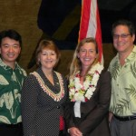 Maui Senators congratulate newly appointed Judge Mimi DesJardins.) (L-R  Senate President Shan Tsutsui, Senator Roz Baker, Judge Mimi DesJardins and Senator J. Kalani English.  Courtesy photo, Senate Communications.
