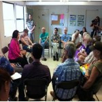 "Congresswoman Hirono discussing Hawaii's future with constituents in Haleiwa ""Coffe Talk"" session. Courtesy of Hirono."