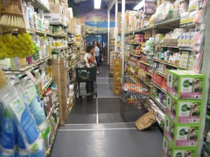 The aisles are narrow and the shelves are stacked high. Susan Halas photo.
