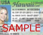 Sample Hawaii driver's license. Courtesy of DOT.